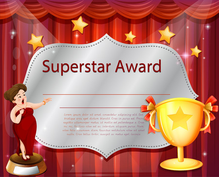 superstar: Certificate of superstar award with curtain background