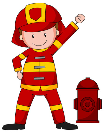 fireman: Close up firefighter in safety uniform Illustration