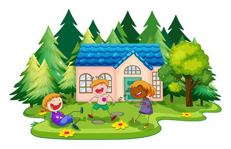 Kinderen spelen in de voorkant van het huis