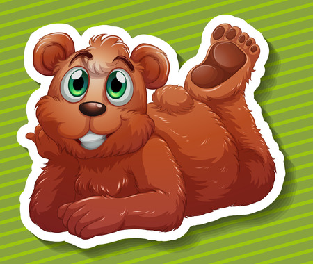 close up face: Close up grizzly bear with happy face Illustration