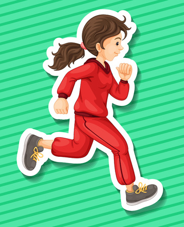 jumpsuit: Happy girl in jumpsuit running alone