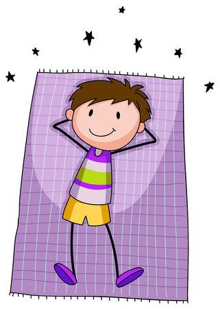 unwind: One happy boy resting on a mat Illustration