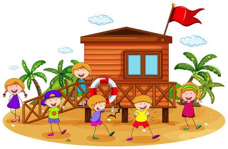 방갈로: 해변에 방갈로 주위에 노는 아이들