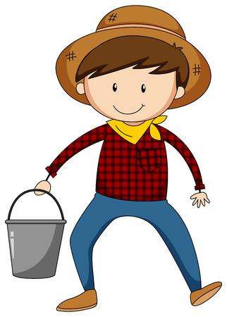 bucket of water: Closeup male farmer holding a bucket