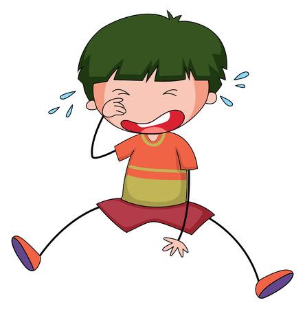 immature: Close up sad boy crying alone