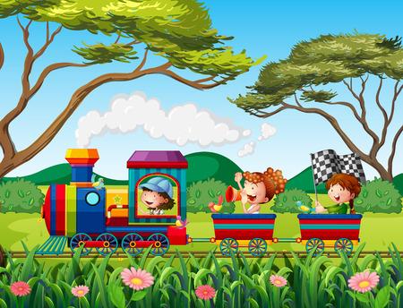tren caricatura: Los niños que viajan en el tren en el bosque Vectores