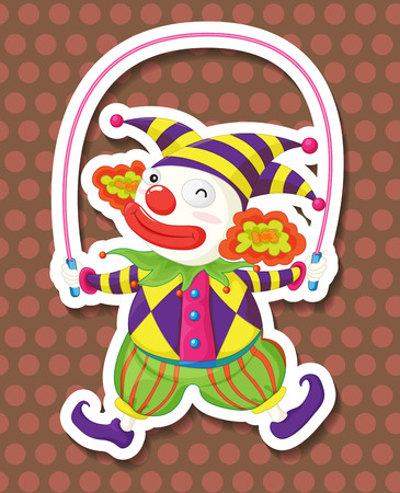 jump rope: Funnly clown jumping on a jump rope Illustration