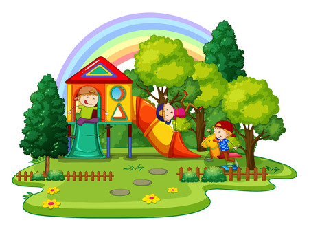 niños en area de juegos: Niños jugando en el patio exterior Vectores