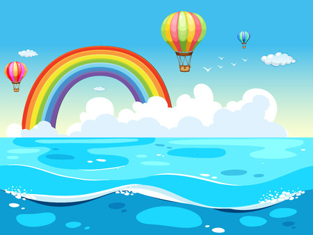 ocean view: Ocean view with balloons and rainbow in the background