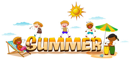 Children playing on the beach with summer sign Vector