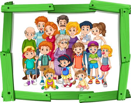 Membres de la famille dans cadre photo en bois Banque d'images - 39768100