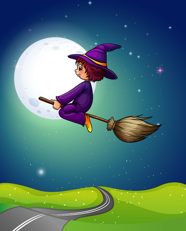 night stick: Witch flying a broom in the dark night of fullmoon
