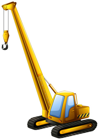 Close up yellow crane truck with hook hanging Illustration