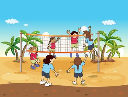 voleibol: Gente que juega voleibol en la playa
