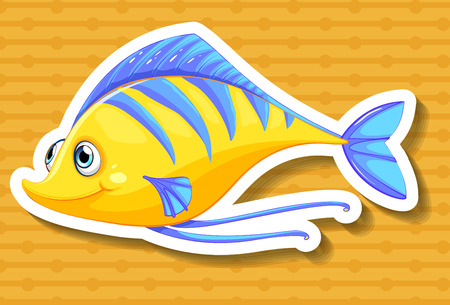 single fin: Closeup yellow fish with yellow background