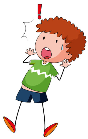 curly hair child: Boy in green shirt feeling surprised
