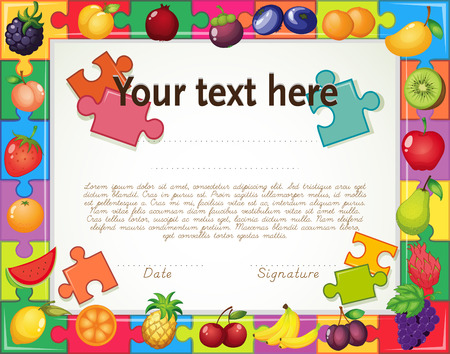 compliment: Certificate with fruit jigsaw puzzle frame