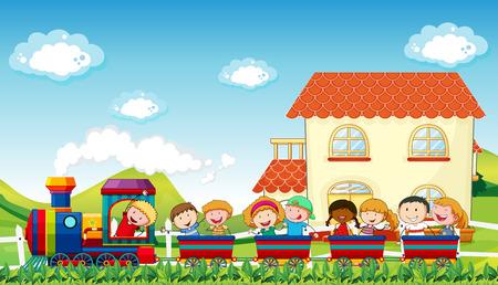 Felices los niños que viajan en un tren a lo largo del campo Ilustración de vector
