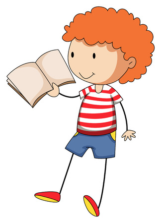curly hair child: Happy boy reading a book by himself