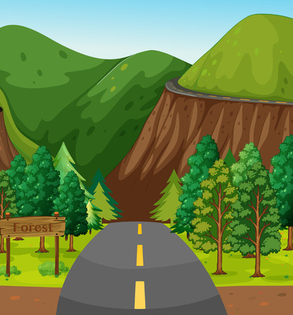 dirt road: Empty road to the forest with mountain in the background Illustration