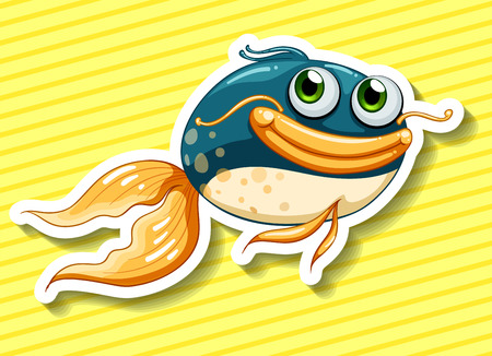 closeup: Closeup happy fish with yellow striped background Illustration