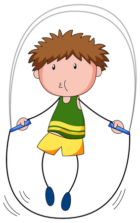 jump rope: Close up boy skipping on a jump rope Illustration