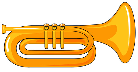 Closeup one plain golden trumpet Illustration