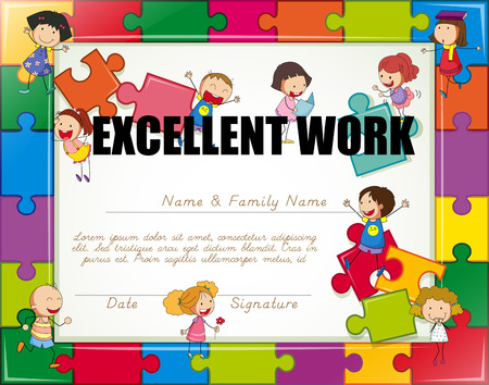 school border: Certificate with children jigsaw border