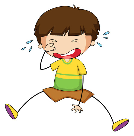 immature: Closeup sad boy crying alone Illustration