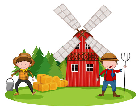 Farmers working in front of the barn Vector