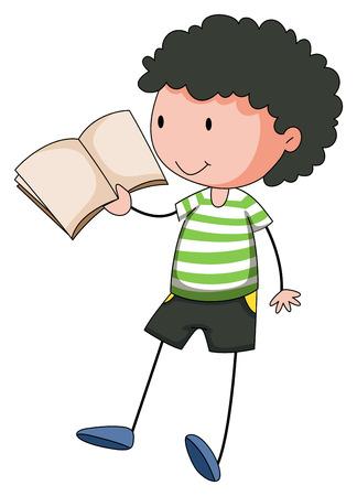 smile close up: Close up boy reading a book