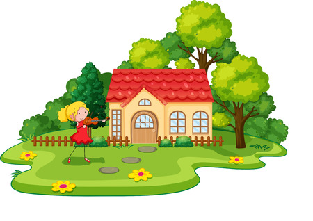 hobby hut: Girl playing violin in front of the house