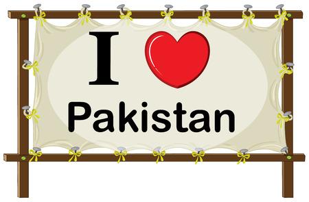 sign in: Ich liebe Pakistan-Zeichen in Holzrahmen