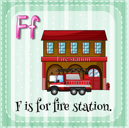 Flashcard letter F is for fire station Vector