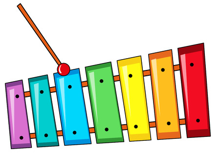 entertaining: Closeup colorful xylophone with the stick Illustration