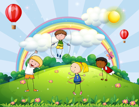 hulahoop: Many children exercising at the park Illustration