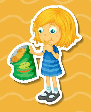 closeup: Closeup cute girl eating potato chips
