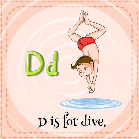 dive: English flashcard letter D is for dive Illustration