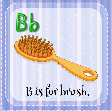 lettres alphabet: Flashcard lettre B est pour la brosse