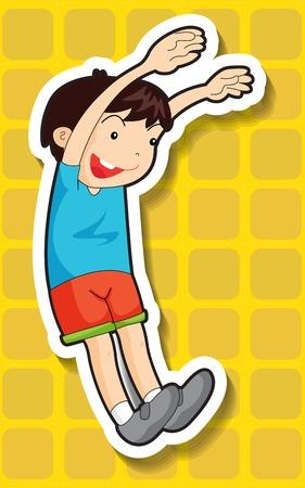 closeup: Nahaufnahme gl�cklich Junge springt mit beiden H�nden nach oben