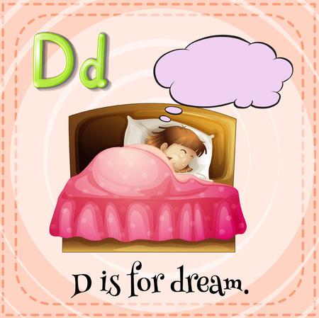 for a dream: Flashcard alphabet D is for dream