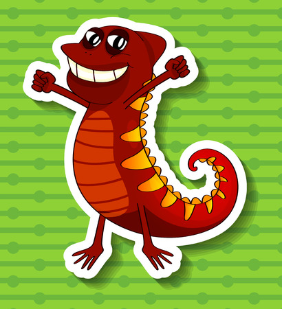 closeup: Closeup happy lizard on green background Illustration