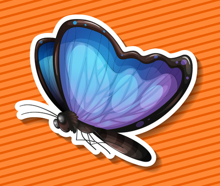 butterfly flying: Close up blue butterfly flying alone Illustration
