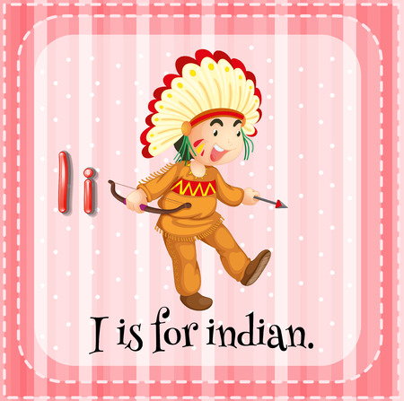 i kids: Flashcard alphabet I is for indian