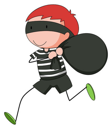 break in: Primer ladr�n huyendo con una bolsa robada Vectores