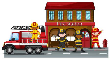 Brandweerlieden werken bij de brandweerkazerne Stock Illustratie