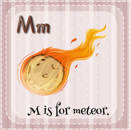 meteor: Flashcard alphabet M is for meteor