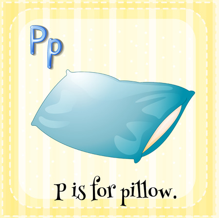 letter alphabet pictures: English flashcard letter P is for pillow