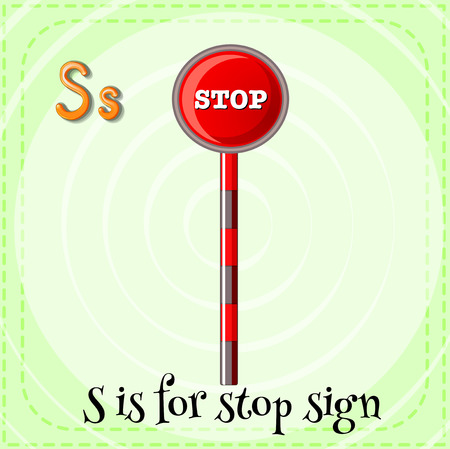 linguistic: Flashcard alphabet S is for stop sign