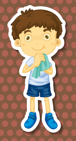 cleaning cloth: Closeup happy boy cleaning his hands with a towel